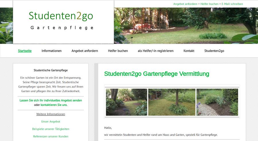Studenten2go Gartenpflege Webseite Screenshot