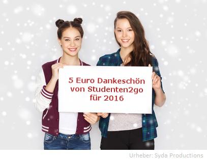 5 Euro Dankeschön von Studenten2go für 2016